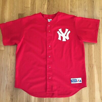 separation shoes 8a897 69822 NEW YORK YANKEES Red Mesh Button Front Jersey Vintage 90s XL Majestic USA  Judge