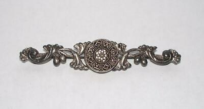 Antique Vintage Victorian Style Silver Metal Filagree Ornate Bar Pin