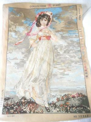 3/4 Worked Vintage Collection D'art Lg Tapestry Canvas Romantic Era Lady 12253