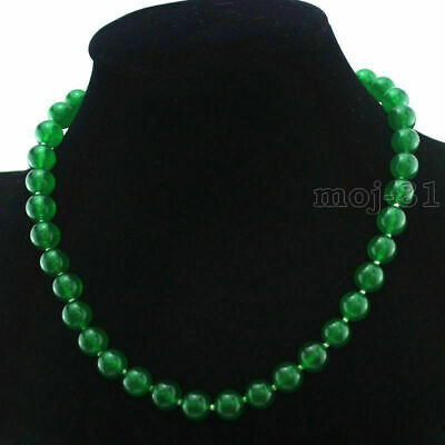 """Fashion Women/'s 10mm Natural Green Jade Gemstone Round Beads Necklace 18/"""" AAA"""