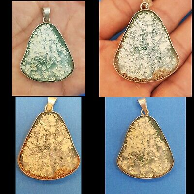 Ancient Old Roman Glass with Excellent Patina Beautiful Silver Surround Pendant