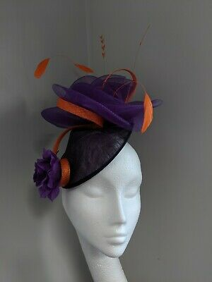 Purple And Orange Sinamay And Crinoline Fascinator, Races Weddings