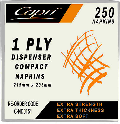 Capri Dispenser Napkin White 1 Ply Compact D Fold Carton 5000