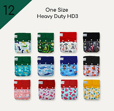 12 Innovative One Size HD3 Cloth Diapers+24 Premium Bamboo Inserts Eco-Friendly