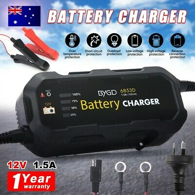 Battery Charger Maintainer 12V 1.5A Deep Cycle AGM SLA Car Truck Motorbike Boat