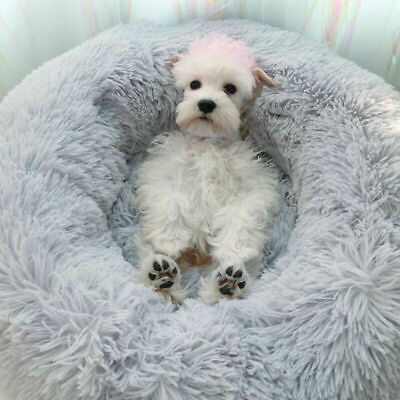 Comfy Calming Dog/Cat Bed Round Super Soft Plush Pet Bed Marshmallow Cat Bed New