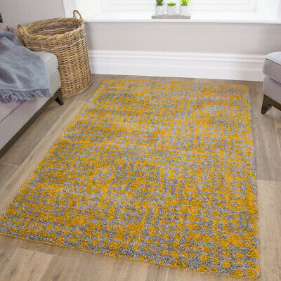 Warm Mustard Yellow & Grey Shaggy Rugs Thick Non Shed Cosy Bedroom Fireplace Rug