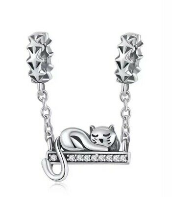 Dew Sterling Silver Sleeping Cat Necklace of Length 45.7cm