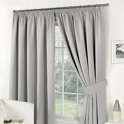 Dreamscene Pencil Pleat Blackout Curtains Set of 2 Thermal Tape Top Heading Grey