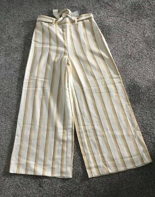 River Island Girls Yellow Stripe Trousers flared elasticated waist 8 or 11 yrs
