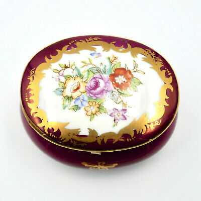 KPM Hand Painted Trinket Box Hinged Lid Oval Floral Magenta Gold Germany Vintage