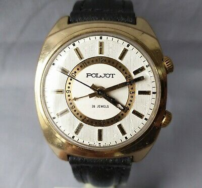 POLJOT watch-SIGNAL, 2812.1 mechanical,gold plated au 5.18 stones. the USSR