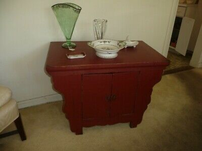 Chinese Red Altar Console Side Table Cabinet