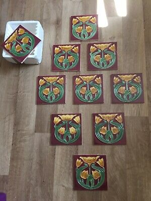 Hand painted art neuveau style tiles x 10 pieces tulip design perfect condition3