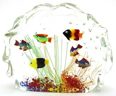 Wonderful MURANO Colorful TROPICAL Fish AQUARIUM Art Glass SCULPTURE Paperweight
