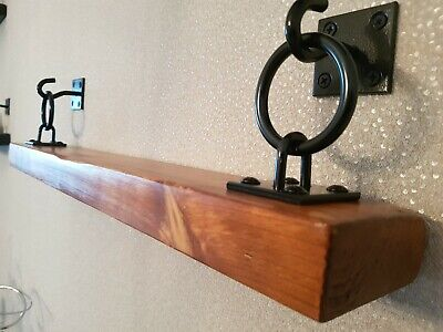 RUSTIC Antique Pine Hanging/Floating Wooden Shelf. With Black Brackets (New)