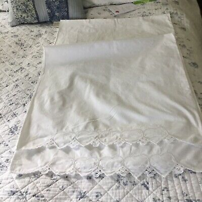 Vintage Pair(2)White Cotton Pillowcases W Crocheted Edge And Cutwork Hearts #2