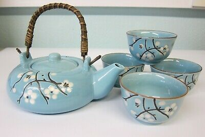 Chinese Porcelain Duck Egg Blue Tea Set Pot and Four Cups Floral Blossom Pattern