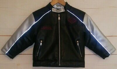 Kids Youth HARLEY DAVIDSON HD Motorcycle Jacket Faux Leather Black Silver Size 5