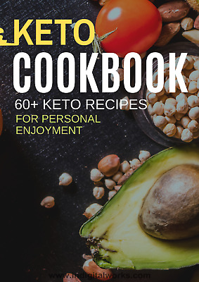 The Keto Diet Cookbook Ebook   60+ Keto Recipes with Resale Rights    MRR   PDF