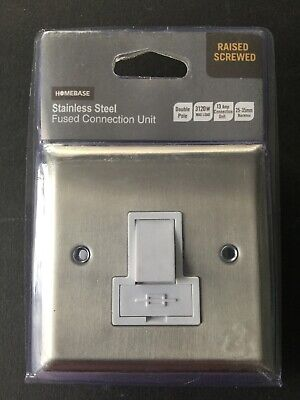 New In Pack Homebase 810342 Stainless Steel 13A Switched Fused Spur