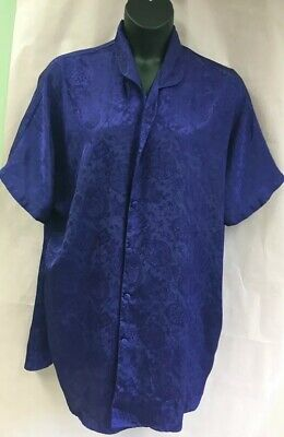 Solange Womens Plus 22/24 Purple Satin Button Down Night Shirt Gown Pajamas (PB)