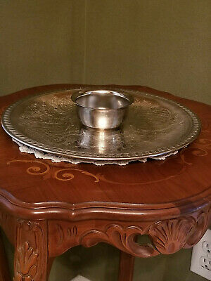 Vintage Silver Plated Leonard EP Chip N Dip Bowl & Platter Made in Italy
