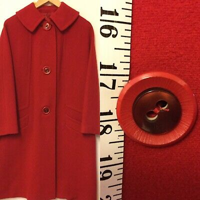 Vintage Red Wool Coat Large Great Button ** Flaw, See Description*
