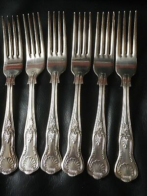 Vintage Set Of 6 Silver Plated Kings Pattern Desert Forks- Epns A1 Sheffield