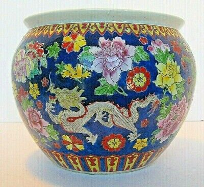Vintage Chinese Jardiniere pot planter dragons flowers hand painted