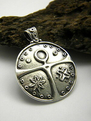 Sterling silver cross Cathar medallion coin pendant big medieval knight cross