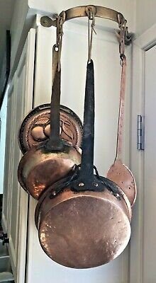 Vintage Copper & Brass Hanging Pans & 1 Utensil With Brass Hanger w/Hooks
