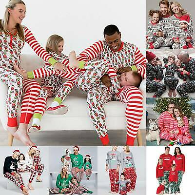 Christmas Pyjamas Family Xmas Pajamas Sleepwear Mum Dad Kids Pjs Sets Night Wear