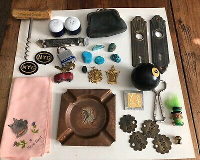 vintage junk drawer lot ( 30 Pcs) Turquoise/Medals/Coke/ Eight Ball/ Toys & More