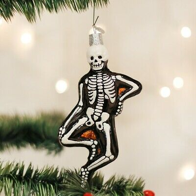Old World Christmas HALLOWEEN Mr BONES Skeleton Man Handblown Glass Ornament OWC