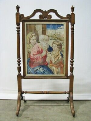 1860's Mahogany Fireplace Screen of Jesus, Holy Family in Needlepoint Panel