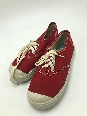 Vintage 1970s Uniroyal Canvas Tennis Shoes Red Kids Toddler 11 USA