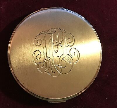 Near Mint Condition Vintage Large Sterling Silver Volupte Compact c. 1950
