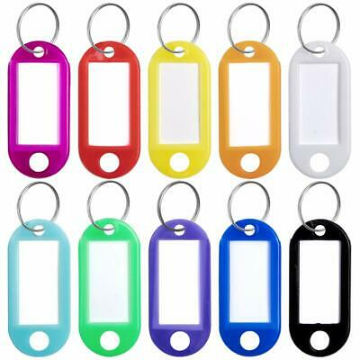 10/20x Plastic Key Tags Assorted Key Rings Luggage ID Tags Name Card Label US