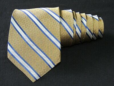 """Royal Classic by Tom James  MEN'S TIE YELLOW, BLUE/STRIPED  3.7/8"""" 59"""" USA"""