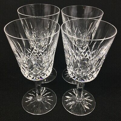 "Waterford Lismore FOUR (4) 6 7/8"" Crystal Water Goblets Glasses"