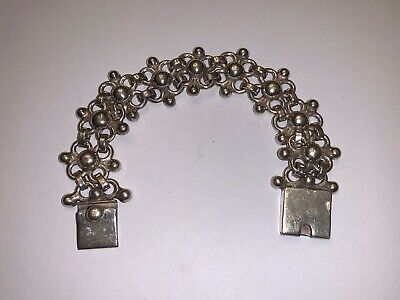 "Vintage Mexico Taxco STERLING SILVER Modernist Large 7&3/4"" BRACELET 25MM"