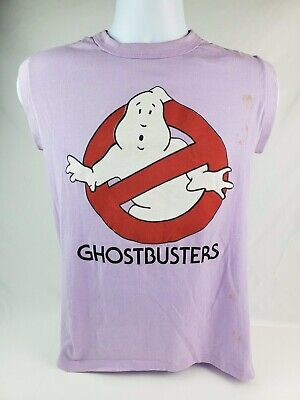 Vintage 1980's  Ghostbusters Movie Kid's T-shirt Purple Sleeveless Size Medium