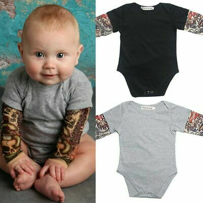 Newborn Baby Boy Fake Tattoo Sleeve Romper Cotton Infant Jumpsuit Outfit 0-18M