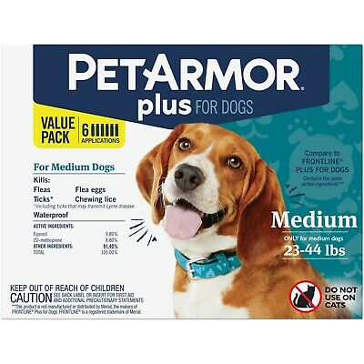 PetArmor Plus Flea and Tick Prevention for Medium Dogs 23-44 lbs 3 applications