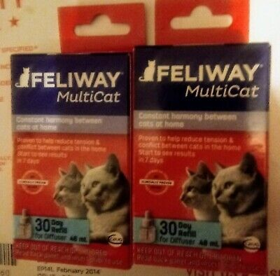 Feliway MULTICAT For Cats 30 day Refill For Diffuser 48 ml  X2 BOTTLE REFILL LOT