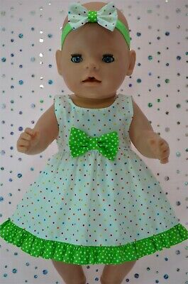 "Play n Wear Dolls Clothes To Fit 17"" Baby Born  MULTI POLKA DOT DRESS~HEADBAND"