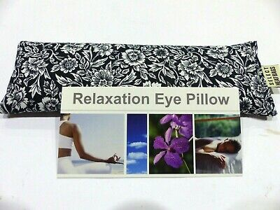 Eye Pillow Mask Cotton Linseed 24 x 8 cm FLORAL BLACK Yoga Meditation Relaxation