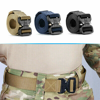 Adjustable Men Nylon Webbed Belt Outdoor Military Tactical Belt w/ Metal Buckle