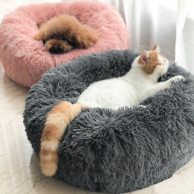 UK Pet Dog Cat Calming Bed Warm Soft Plush Round Cute Nest Comfortable Sleeping